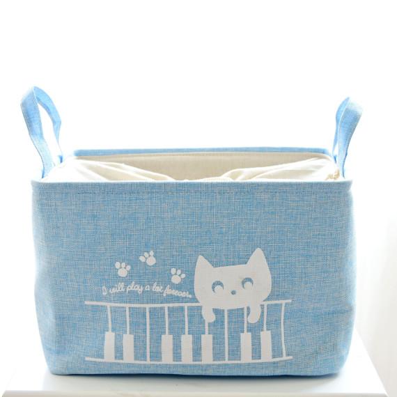 Кошик для іграшок на зав'язках «Cat blue»